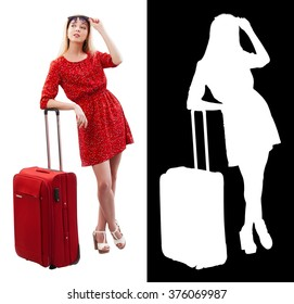 Portrait of pretty woman in red with travel bag. Clipping mask.