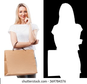 Portrait of pretty woman with shopping bag. Clipping mask.