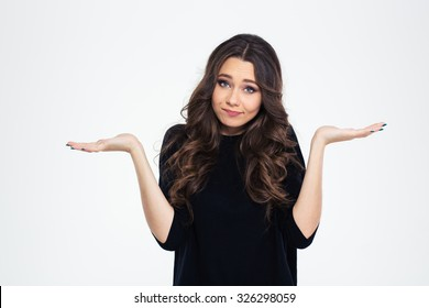 Portrait of a pretty woman shrugging shoulders isolated on a white background