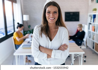 Portrait of pretty young businesswoman looking at camera. In the background, her colleagues working in the office.