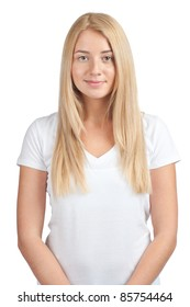 Portrait of a pretty young female wearing white t-shirt, against white background