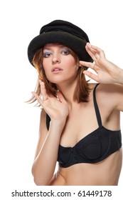 Portrait of a pretty young woman with black bonnet