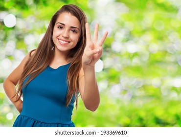 portrait of pretty young woman counting with her fingers