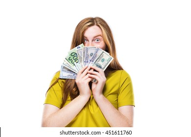 portrait of pretty young woman with money isolated on white background