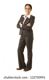 Portrait of a professional Hispanic business woman wearing a grey suit looking at camera isolated on white suit looking at camera isolated on white