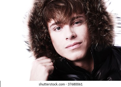 Portrait of a professional male model in winter clothes.