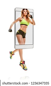 Portrait of professional smiling female runner running marathon, concept virtual reality of the smartphone. going out of the device. the original elements are transferred or removed.