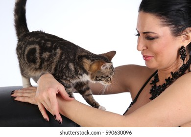 portrait in profile brunette girl with a cat on a white background studio