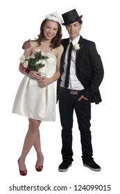 Portrait of prom night couple against white background