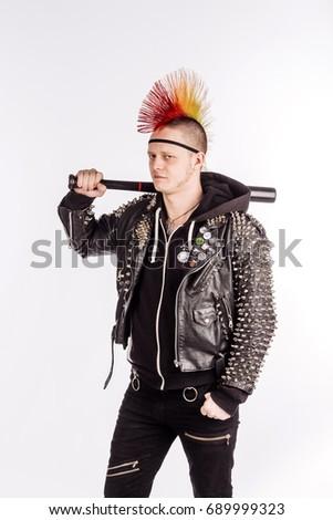 Portrait Punk Rocker Mohawk Hairstyle Holding Stock Photo Edit Now