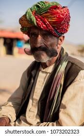 portrait of rajasthani mustache man.