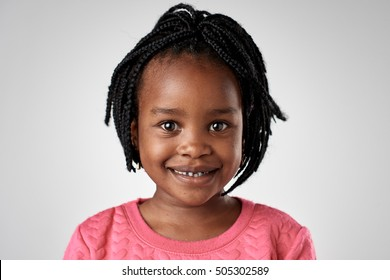 portrait of real african black girl face in studio