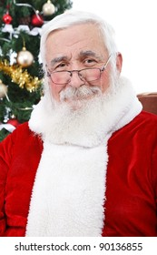 portrait of real Santa Claus with gray hair without hat, isolated on white background