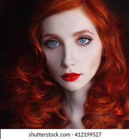 portrait of red-haired girl with big blue eyes and red lips, woman with pale skin on a dark background, red curly hair, beautiful girl with white skin and unusual appearance, long red hair