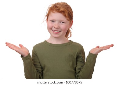Portrait of a redhaired girl in gesture of asking and confusion