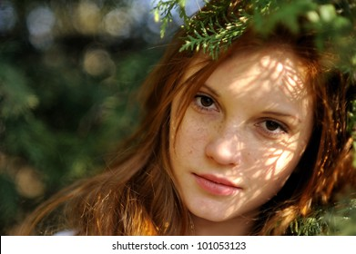 Portrait Redhead Girl At Outdoor