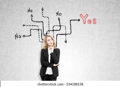 Portrait of a redhead woman standing near a concrete wall with arrows leading to yes, no or no answer. Concept of difficulties of making a choice