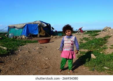portrait of refugees living homeless in Turkey. 1.4.2015 Reyhanli, Turkey