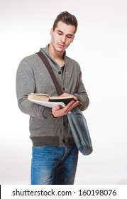 Portrait of a relaxed handsome young male student.