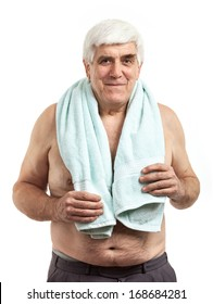 Portrait of relaxed middle aged man holding towel, isolated over white background