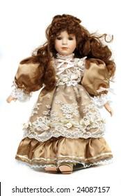 Portrait of retro porcelain doll with lace dress