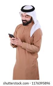 Portrait Of A Rich Arab Man Using Smart Phone Technology
