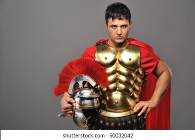 Portrait of a roman legionary soldier