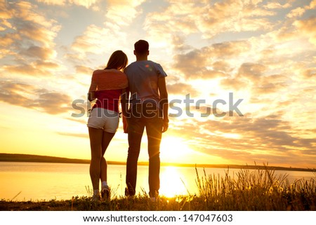 Portrait of a romantic young couple in love