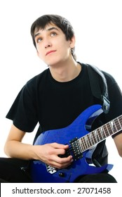 portrait of a romantic young man playing the guitar against white background