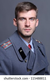 portrait of Russian military officer in greatcoat