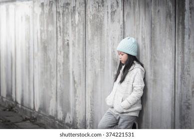 Portrait of sad asian girl,Vintage filter