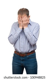 Portrait of sad man in depression hiding his face. Isolated on white background