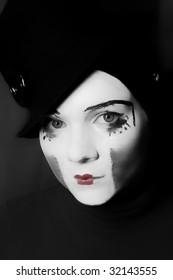 Portrait of  sad mime in  hat