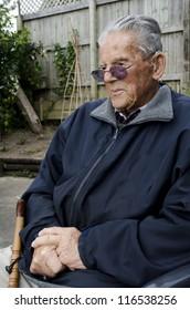 Portrait of sad old man in his 90's.