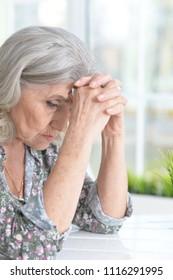 portrait of sad senior woman