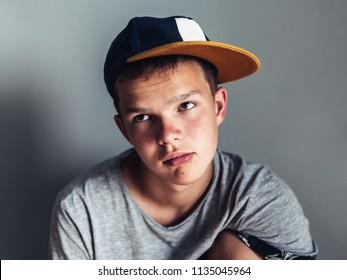 Portrait of sad, tired teenager