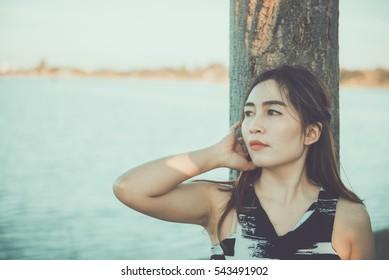 Portrait Sad Woman On Vintage Style