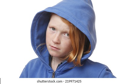 Portrait of a sad young girl on white background