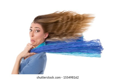 Portrait of sad young woman with flowing hair