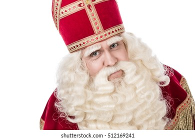 Portrait of Saint Nicholas. Isolated on a white background. Vintage editing
