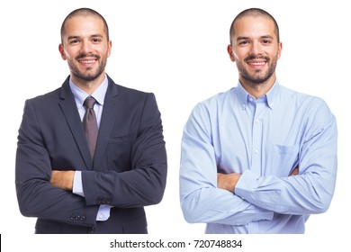 Portrait of the same man in different style clothes, isolated on a white background