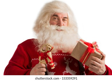 Portrait of Santa Claus with christmas deer decoration and gift isolated on white background