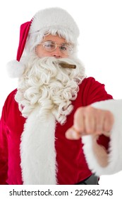 Portrait of santa claus with cigar on white background