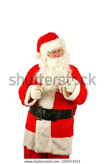 Portrait of a Santa Claus posing isolated on white with room for your text. Santa Claus is a mythical figure who is popular around the world, representing good things for all people and cultures.