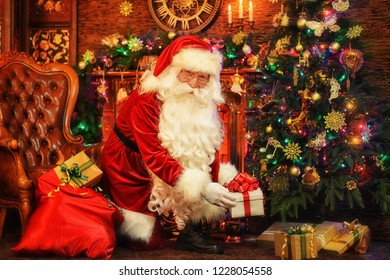 Portrait of a Santa Claus in room