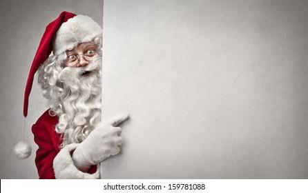portrait of Santa Claus showing billboard