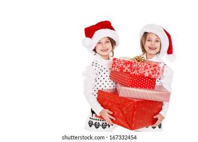 c0172a32f3a0a Portrait of Santa hat Christmas girls holding christmas gifts smiling happy  and excited. Cute beautiful