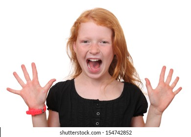 Portrait of a scared young girl on white background