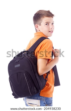 1862c41794ab Portrait School Boy Backpack Holding Notebook Stock Photo (Edit Now ...