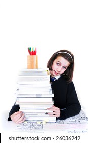 portrait of school girl with stack of books